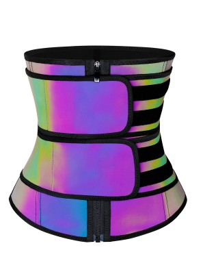 Latex Rainbow Reflective Double Belt Waist Trainer Weight Loss
