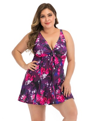Entrancing Flower Paint Queen Size Tankini Fashion Style