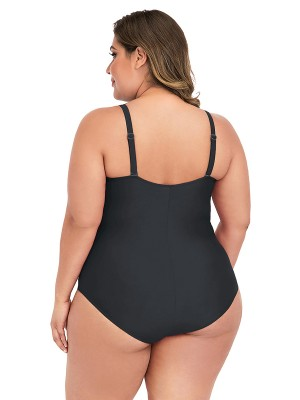 Trendy Black Plus Size Swimwear Pleated Strap Women's Apparel