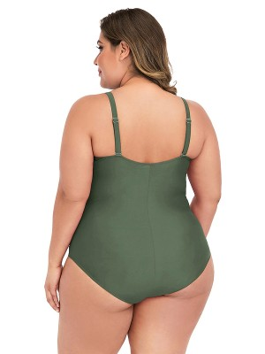 Swimming Army Green High Cut Swimsuit Open Back For Trip