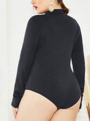 Honeymoon Black Large Size Long-Sleeved Bodysuit Zip Cool Fashion