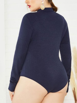 Sophisticated Deep Blue Long Sleeves Big Size Zip Bodysuit