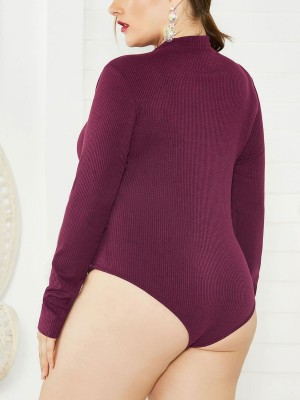 Individualistic Wine Red Plus Size Knitted Bodysuit Zipper Women