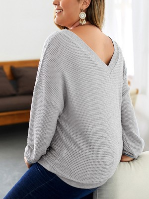 Voluptuous Gray V-Neck Long Sleeve Large Size Shirt For Work