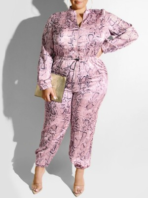 Appropriate Pink Jumpsuit Fitted Waist Stand-Up Collar Fashion Sale