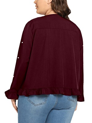 Unique Wine Red Front Open Jacket Ruffled With Pearl Women