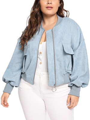 Astonishing Blue Long Sleeve Zipper Jacket Plus Size Female