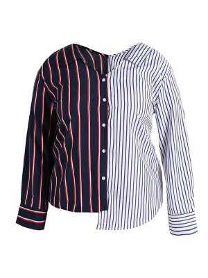 Stretch Large Size Shirt Patchwork Button For Streetshots