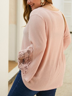 Fairy Pink Hollow Out Lace Plus Size Shirt Latest Trends
