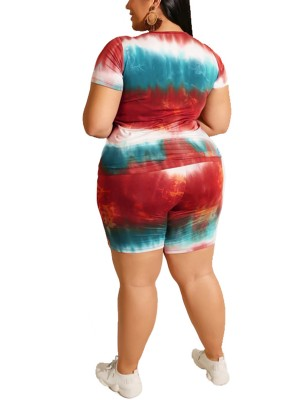 Scintillating Red Plus Size Crew Neck Top Suit Tie-Dyed For Beauty