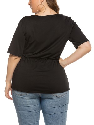 Noticeable Black Side Knot Top Queen Size Short Sleeve Natural Women