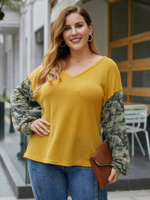Feminine Yellow V Collar Shirt Camo Splice Big Size Soft-Touch