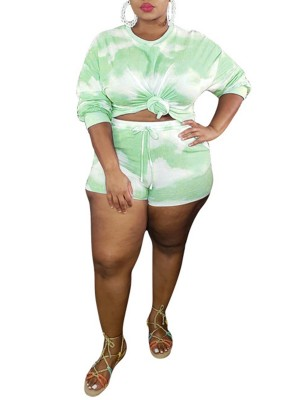 Glorious Green Tie-Dye Print Two-Piece Large Size Natural Fit