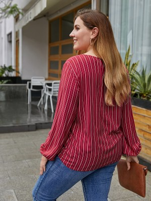 Modest Red Stripes Front Knot Large Size Blouse Elegance