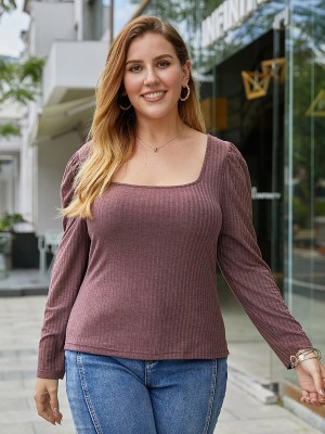 Leisure Jujube Red Plus Size Solid Color Top Full Sleeve