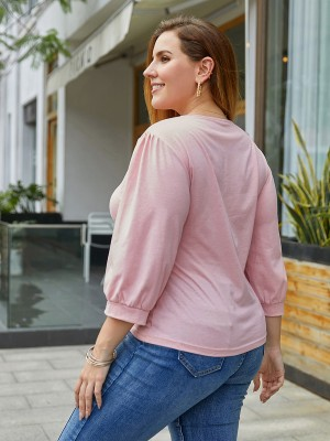 Pink Solid Color Blouse Plus Size Drawstring Comfort Fabric