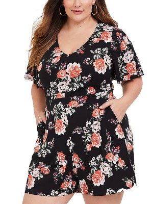 Interesting Plus Size Jumpsuit Floral Printed Comfort Fit