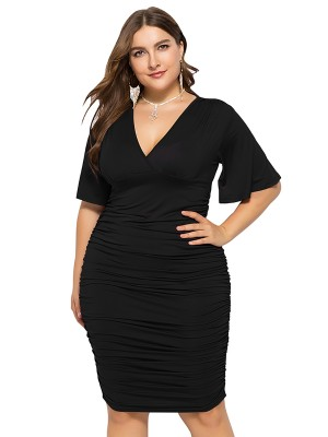 Frisky Black Big Size Dress V-Neck Flutter Sleeve Leisure Time