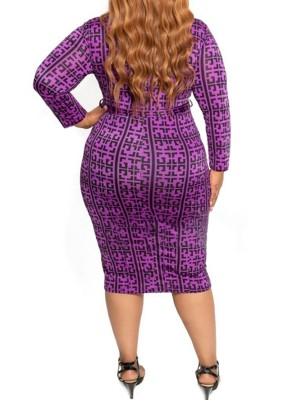 Quirky Long Sleeve Big Size Bodycon Dress Summer Time Shopping