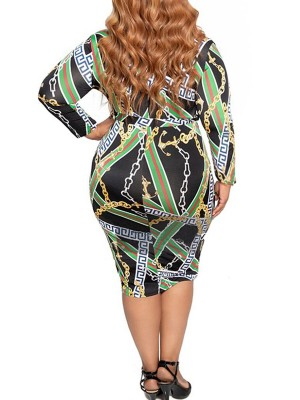 Spectacular Chain Print Large Size Bodycon Dress Heartbreaker