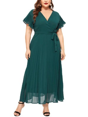 Svelte Style Blackish Green Queen Size V Neck Tie Maxi Dress