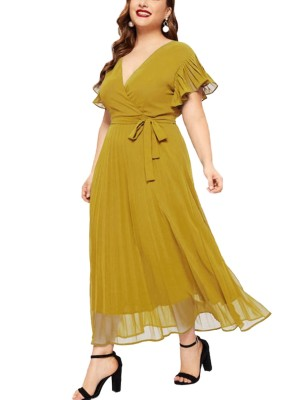 Sassy Yellow Plus Size Dress Ruffled Waist Tie Fashion Top