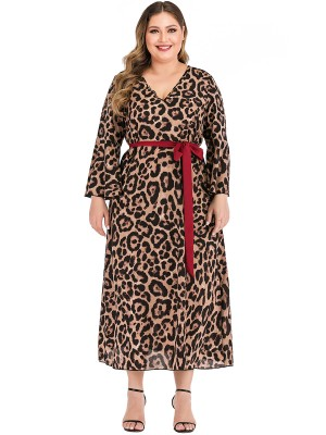 Holiday Stunner Leopard Print Big Size Dress Tie For Grace Lady