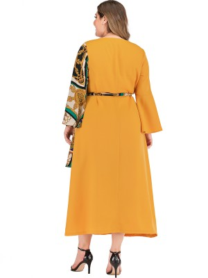 Ultra Hot Yellow Bell Sleeve Patchwork Big Size Dress Eye Catcher