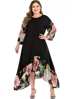 Enthralling Black Plus Size Dress Floral Paint Irregular Hem Fast Shipping