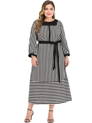 Ultra Cheap Black Tie Waist Large Size Dress Stripe For Party