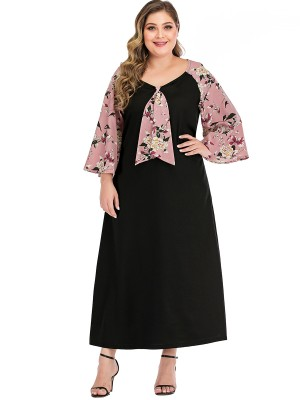 Tailored Black Flower Pattern Plus Size Dress Crew Neck Girls Fashion
