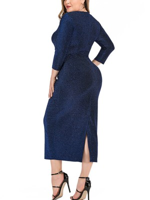 Purplish Blue Back Slit Large Size Dress V Collar Feminine Elegance