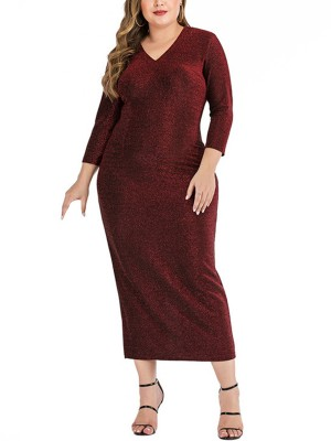 Vogue Wine Red 3/4 Sleeve V-Neck Slit Plus Size Dress Women's Fashion