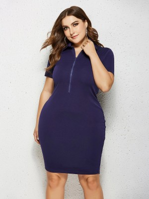 Dainty Dark Blue Short Sleeve Midi Dress Queen Size Female