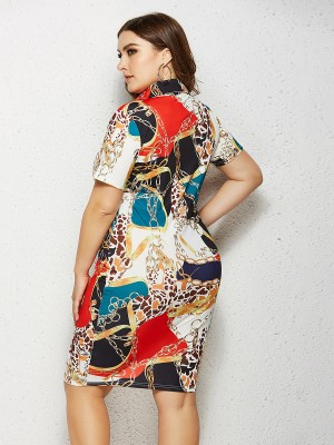 Glitter Midi Dress Turndown Neck Plus Size Super Faddish