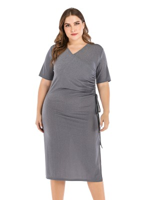 Well-Suited Gray Pleated Large Size Dress Short Sleeve Lightweight