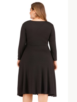 Comfy Black Long Sleeve Big Size Dress Ruched Quick Drying