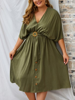 Premium Army Green V-Neck Plus Size Dress Pleated Cheap Online Sale