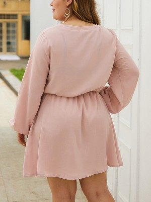 Trendy Pink Lace-Up Big Size Dress Solid Color Comfort Fit