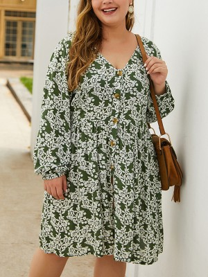 Sophisticated Army Green Floral Print Midi Dress Big Size For Women Online