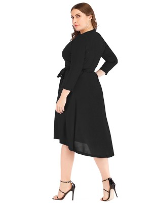 Well-Suited Black Irregular Hem Big Size Dress V-Neck For Female