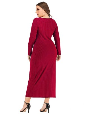 Entrancing Button Long Sleeves Queen Size Dress Fashion Shopping