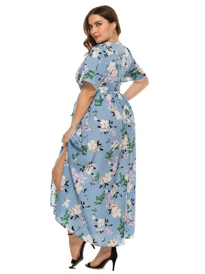 Stretch Light Blue Maxi Dress Flower Print Tie Waist For Ladies