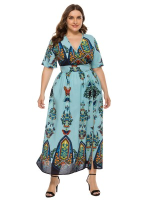 Enthusiastic Light Blue Hollow Out High Waist Maxi Dress Women Forward