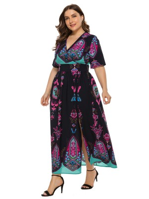 Dynamic Purplish Blue Short Sleeve Cross V-Neck Maxi Dress High Elasticity