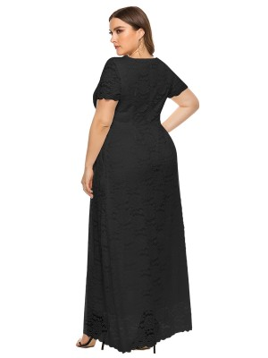 Stretch Black Short Sleeve Pockets Big Size Dress Ladies Elegance