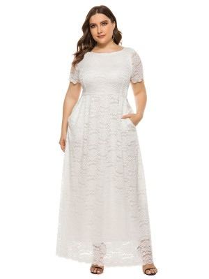 Zealous White Queen Size Dress Lace Maxi Length Charming Fashion