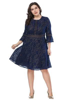 Adult Dark Blue Flared Sleeve Midi Length Big Size Dress Natural Fit