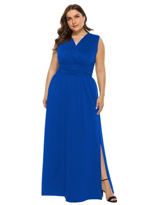 Noticeable Blue Side Slit Sleeveless Large Size Dress Supper Fashion