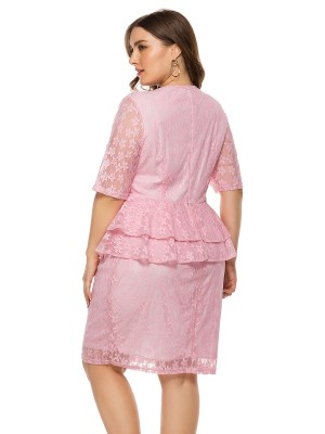 Vivid Flawless Pink Half Sleeve Plus Size Dress Lace On-Trend Fashion